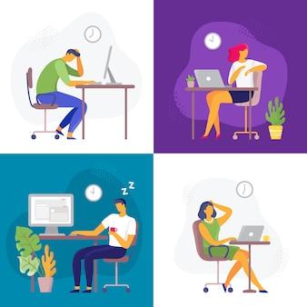 Spät arbeiten. überstunden, vielbeschäftigter workaholic und mitarbeiter mit büro-laptops. deadline flacher illustrationssatz