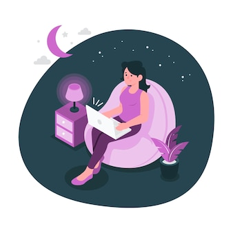 Spät in der nacht konzeptillustration