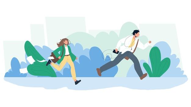 Späte person, mann und frau, die auf straßenvektor laufen. junge mit musik-player und mädchen mit aktenkoffer laufen und spät zur arbeit oder zum bus. charaktere geschäftsleute flache cartoon-illustration