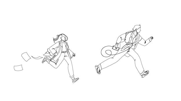 Späte person mann und frau laufen auf der straße schwarze linie bleistiftzeichnung vektor. junge mit musik-player und mädchen mit aktenkoffer laufen und spät zur arbeit oder zum bus. charaktere geschäftsleute illustration