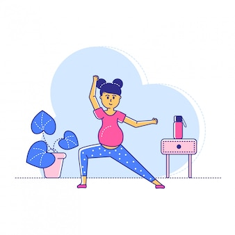 Späte schwangere periode yoga-übungen, linie frau charakter training sporttraining auf weiß, illustration.