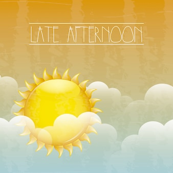 Späten nachmittag über himmel hintergrund vektor-illustration