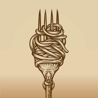 Spaghetti auf gabel im gravurstil