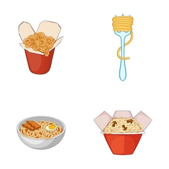 Spaghetti elementsatz. karikatursatz spaghettivektorelemente
