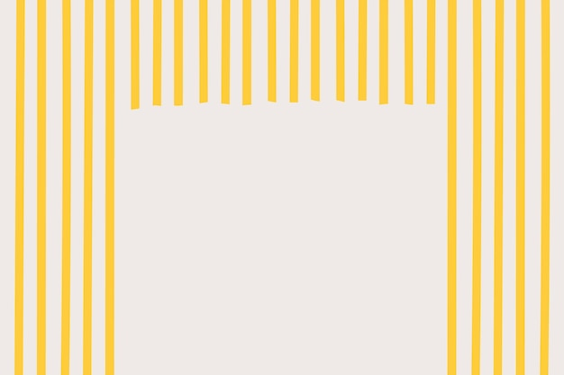 Spaghetti-gestreifter rahmenhintergrundvektor im gelben gekritzelstil