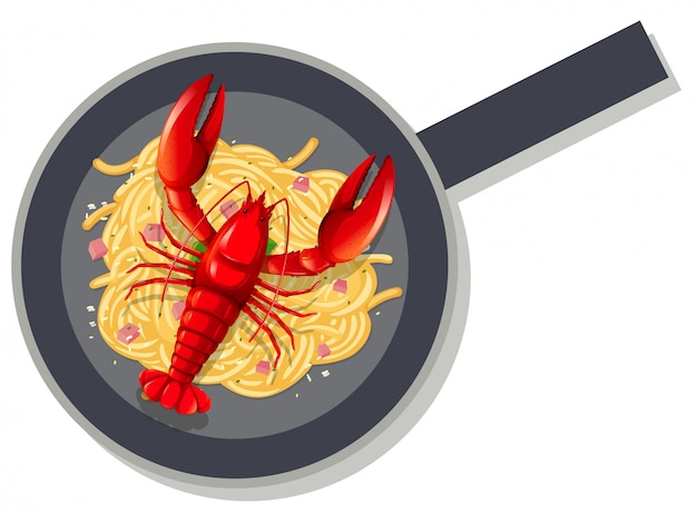 Spaghetti hummer auf pfanne