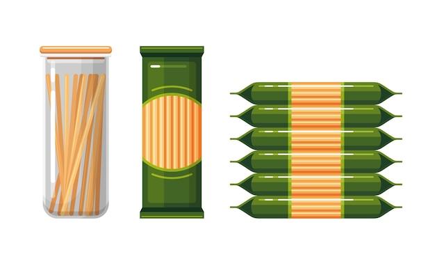 Spaghetti in plastikverpackung und vorratsbehälter für lebensmittel mit bunten vektorgrafiken Premium Vektoren