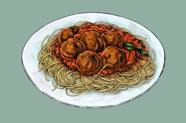 Spaghetti mit fleischbällchen zeichnungsvektor