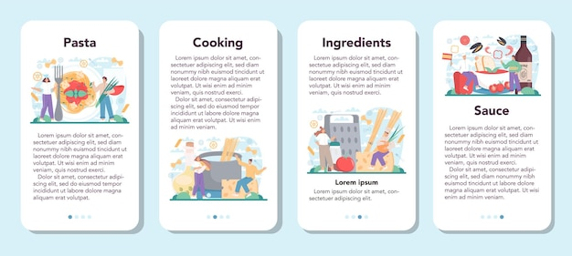 Spaghetti- oder pasta-app-banner für mobile anwendungen setzen italienisches essen auf den teller