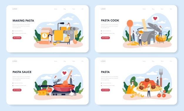 Spaghetti oder pasta web layout oder landing page set. italienisches essen auf dem teller. leckeres abendessen, fleischgericht. pilz, fleischbällchen, tomaten zutaten.