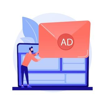 Spam, e-mail-spam. mädchen-zeichentrickfigur, die unerwünschte, unerwünschte elektronische nachrichten erhält. promotion, messaging, werbung, newsletter-konzeptillustration
