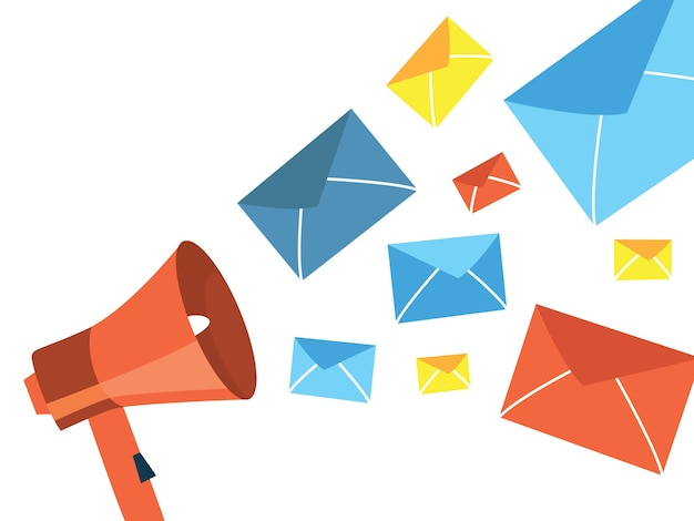 Spam-mail-konzept. idee der eingehenden e-mail-nachricht mit werbung im inneren. systemschutz, sicherheit und datenschutz. illustration