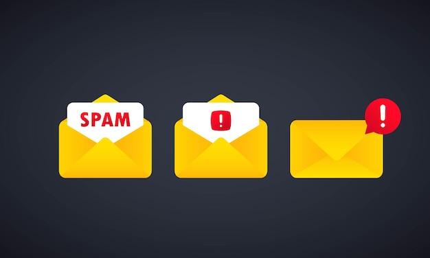 Spam-nachricht und e-mail-warnung oder umschlag mit spam mit warnmeldungen zu gefahrenfehlern