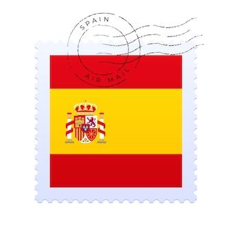 Spanien briefmarke. nationalflaggen-briefmarke lokalisiert auf weißer hintergrundvektorillustration. stempel mit offiziellem länderflaggenmuster und ländernamen