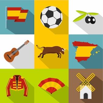 Spanien festgelegt, flachen stil