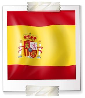 Spanien flagge auf quadratischem papier