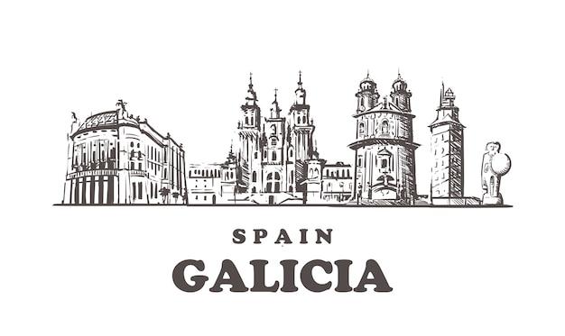 Spanien, galizien handgezeichnete architektur