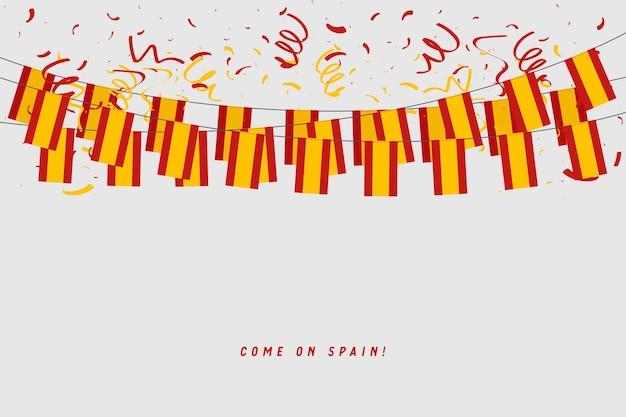 Spanien-girlandenflagge mit konfettis auf grauem hintergrund.