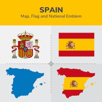 Spanien karte, flagge und national emblem