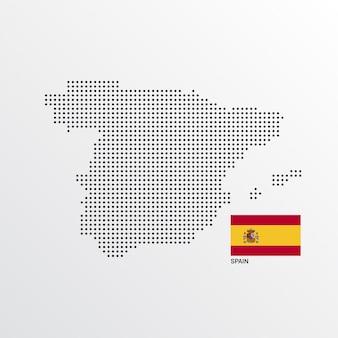 Spanien-kartenentwurf mit flaggen- und hellem hintergrundvektor