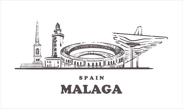 Spanien, malaga handgezeichnete architektur