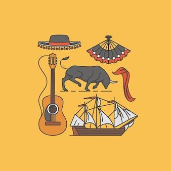 Spanien set illustration