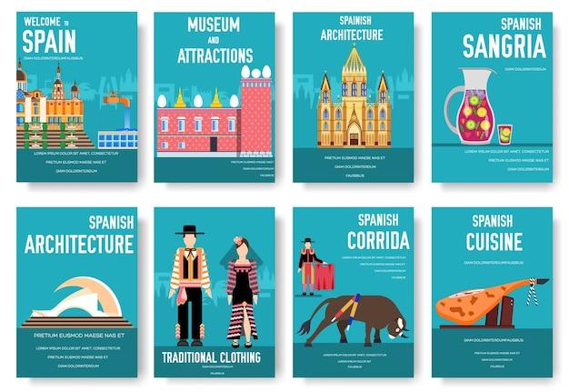 Spanien vektor broschüre karten gesetzt