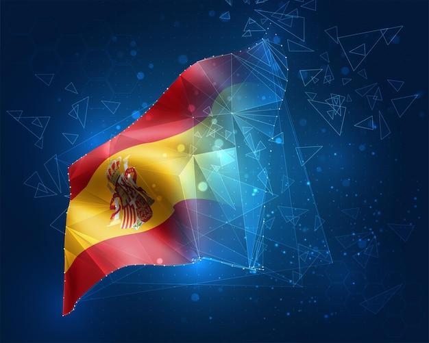 Spanien, vektorflagge, virtuelles abstraktes 3d-objekt aus dreieckigen polygonen auf blauem hintergrund