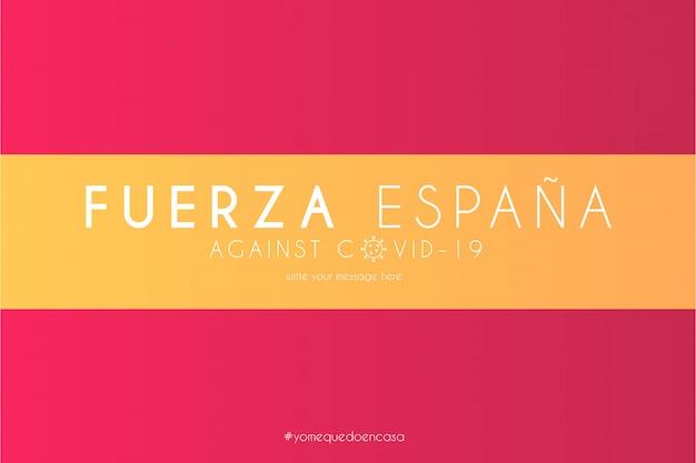 Spanische flagge mit unterstützungsnachricht gegen covid-19