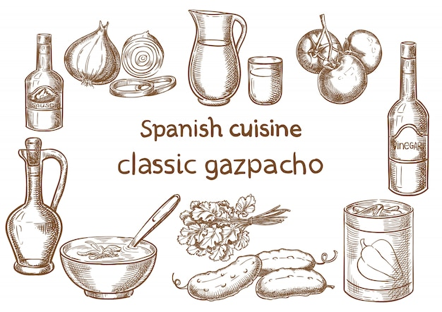 Spanische küche. klassische gazpacho zutaten vektor skizze.