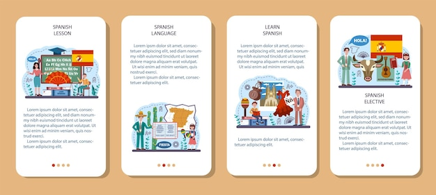 Spanischer sprachkonzeptsatz. sprachschule spanischkurs. ausland studieren