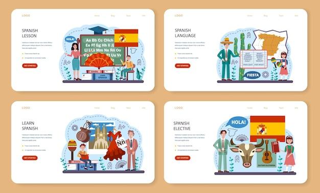 Spanisches webbanner oder landingpage-set. sprachschule