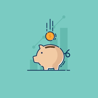 Sparen mit sparschwein und münze