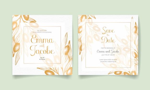 Sparen sie das datum, hochzeitseinladungskarte mit goldenen oliven, blättern und niederlassungen.