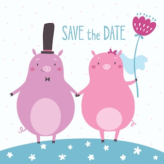 Sparen sie die datumsvektorkarte mit den netten schweinen