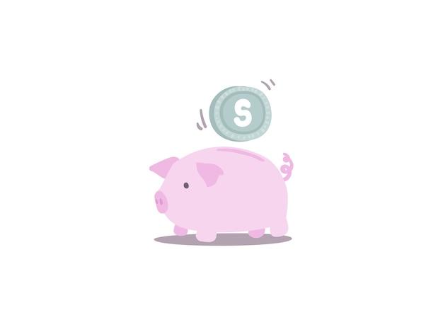 Sparen sie geld im sparschwein in der pastellfarb- und -kinderart