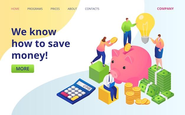 Sparen sie geld service-landingpage. goldene münzen, dollarwährung und sparschwein. sparen sie geld investitionen unternehmen website. bareinzahlung. anlageerträge, online-fonds.
