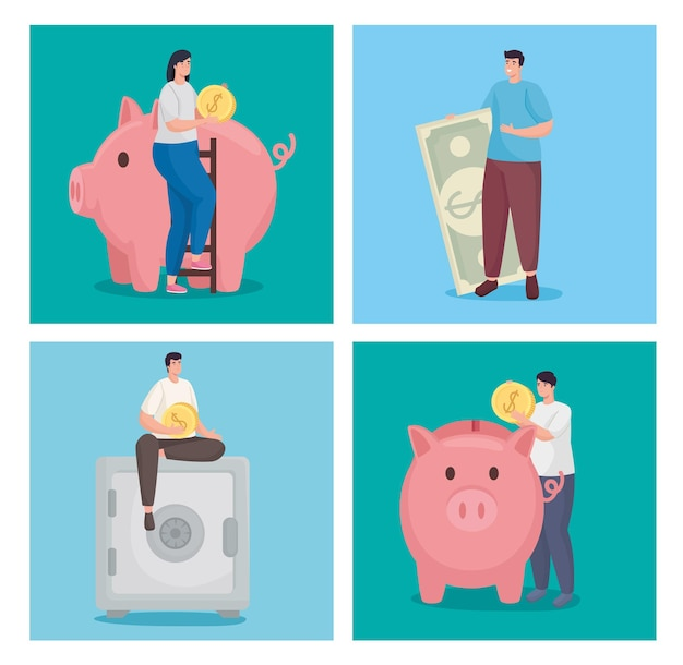 Sparen sie geld und sparen sie mit münzen