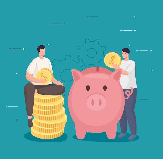 Sparen sie geld von männern, die münzen mit schweinchen halten