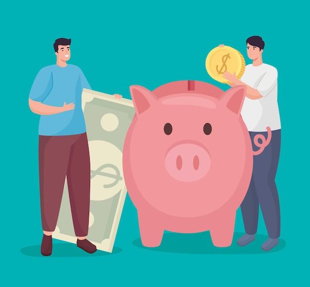 Sparen sie geld von männern, die münzschein und schweinchen halten
