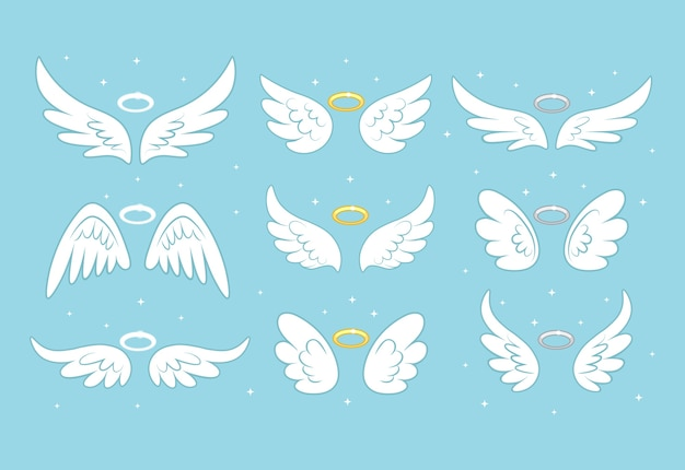 Sparkle angel fairy wings mit goldenem nimbus
