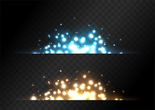 Sparkle setzt mit gelber und blauer farbe