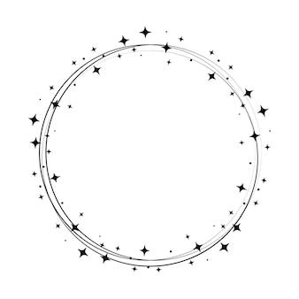 Sparkle star kreisrahmen. kranz runde sternenstaubgrenze für party, geburtstagsdekor-design. lorbeerrahmen mit kosmischem glitzerglanz. isolierte schwarze flache vektorillustration.