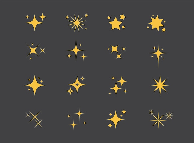Sparkles stars auf schwarzem hintergrund set funkelnder sterne