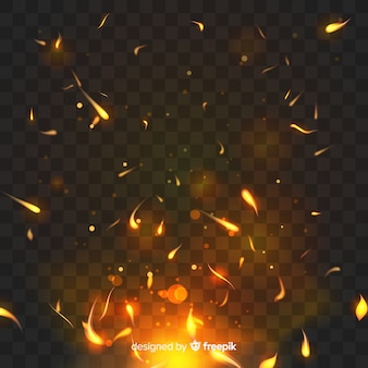 Sparkly feuereffekt mit transparentem hintergrund