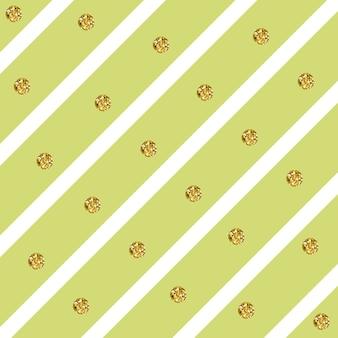 Sparkly glam golden circles auf einem diagonalen streifenmuster