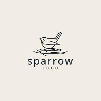 Sparrows-logo mit einem einfachen linienstil Premium Vektoren