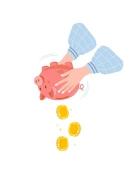 Sparschwein mit fallenden goldmünzen