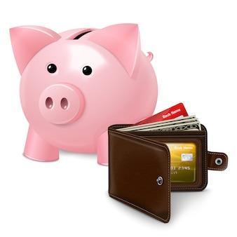 Sparschwein mit geldbörsenplakat