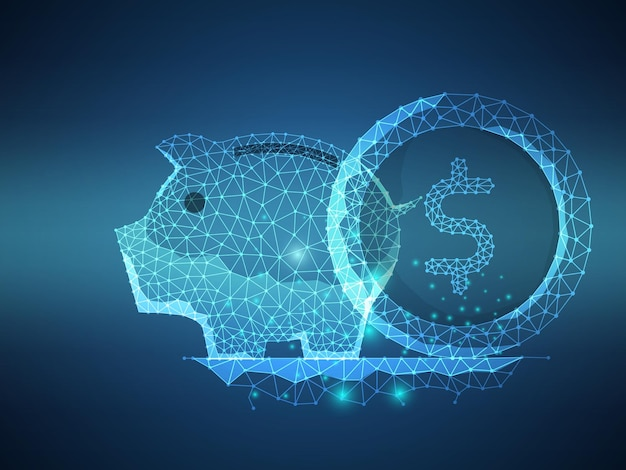 Sparschwein mit geldmünze futuristischer low-polygon-maschendraht-technologie-vektor-illustrationshintergrund